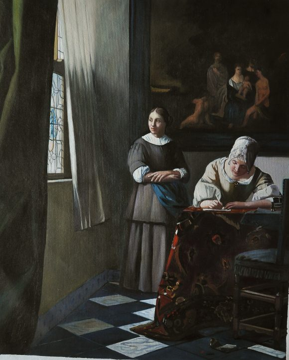 Lady Writing a Letter with her Maid by Vermeer