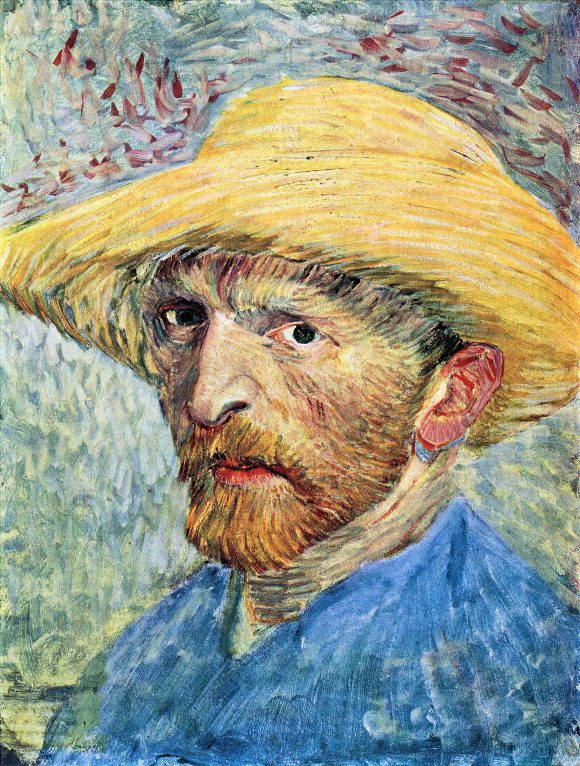 Self-portrait, with straw hat and blue shirt by Van Gogh