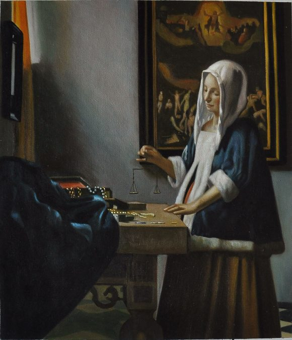 Woman Holding A Balance by Vermeer
